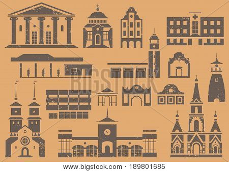 Vector set of logo stencils and prints of city buildings. Black different public and residential houses on beige grunge background.