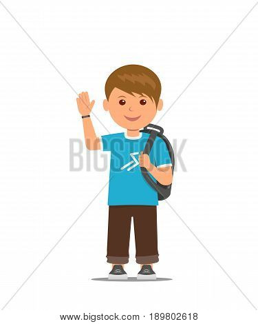 Cartoon school boy with school bag is waving his hand. Back to school. Vector illustration in flat style.