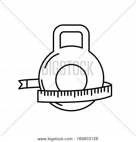 line dumbbell with measuring to healthy lifestyle vector illustration