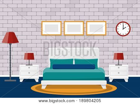 Room interior. Hotel bedroom design with furniture. Vector flat illustration. Cartoon animated fitments with brick wall and carpet.