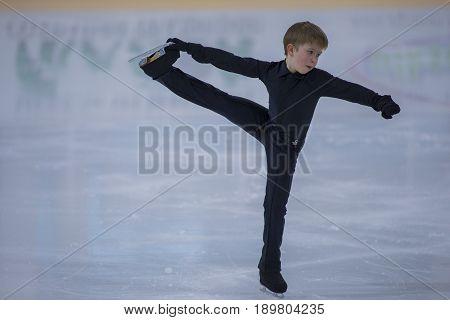 Minsk Belarus -April 23 2017: Unidentified Male Figure Skater Performs Bronze Class Men Free Skating Program at Minsk Arena Cup 2017 International Figure Skating Competition in April 23 2017 in Minsk Belarus