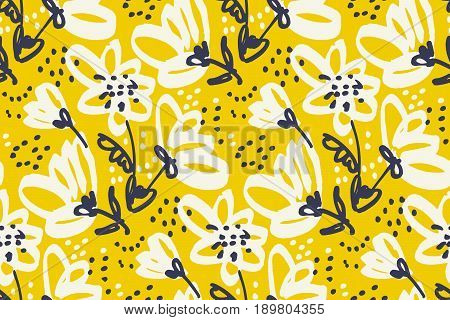 Vector seamless pattern for surface design. Freehand illustration with flower in vivid yellow color. Shabby floral design element for card, header, invitation.