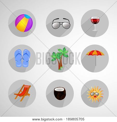 illustration of umbrella, coconut, coconut tree, goggles, Sun, beach chair and ball on summer holidays