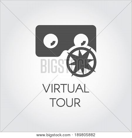 Black icon of virtual tour in flat style. Concept of virtual reality games, presentation, business. Innovative digital technologies. Pictogram for your design projects. Vector illustration