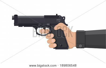 Pistol gun, automatic modern handgun in hand. Hand weapon. Vector illustration in flat style