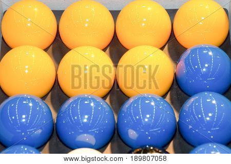 Billards pool game. Color balls in rectangle aiming at cue ball