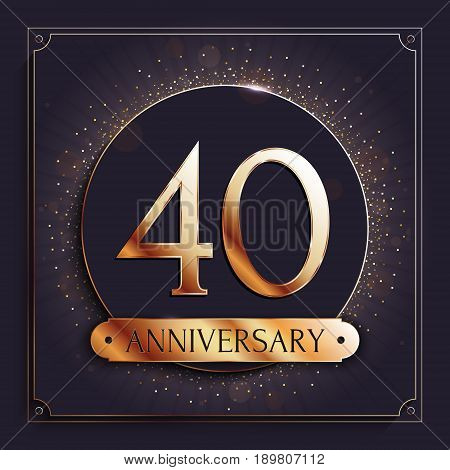 40 years anniversary gold banner on dark background. Vector illustration.