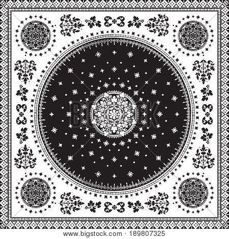 Victorian Floral Paisley Medallion Ornamental Rug Vector. Ethnic