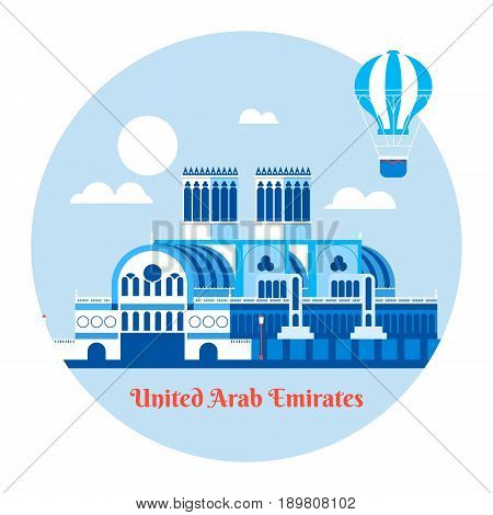United Arab Emirates travel icon. Flat vector illustrationUnited Arab Emirates travel