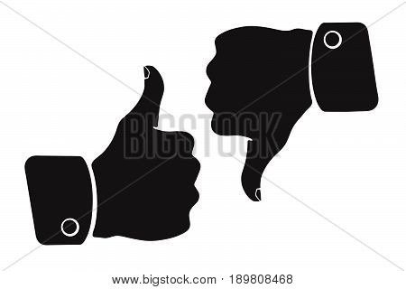 Vector illustration. Silhouette of thumb up and thumb down symbols of like and dislike. Patterns elements for greeting cards user interfaces