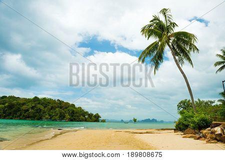 Paradise Ao Nang beach. Sea and palm, Krabi Thailand