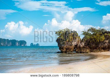 Paradise Ao Nang beach. Sea and rock, Krabi Thailand