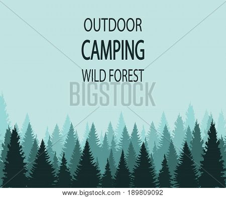 VECTOR background: outdoor camping wild forest, background template