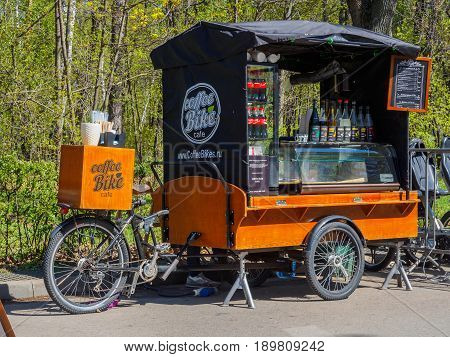 Russia Moscow May 2017. Movable bike-cafe in the park.
