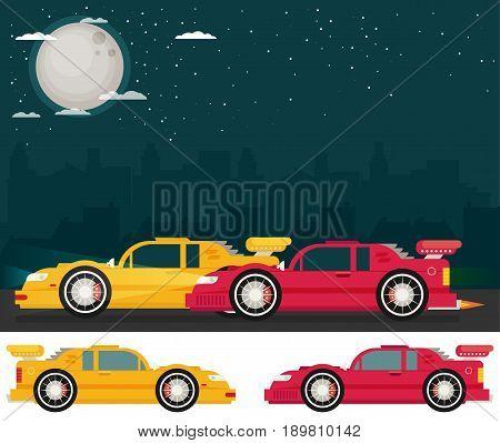 Night street racing. Flat racing car vector set. Eps 10