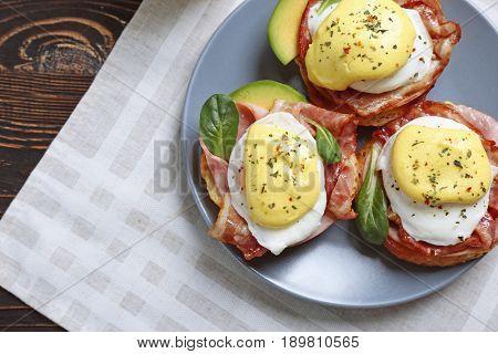 Tasty eggs Benedict, closeup