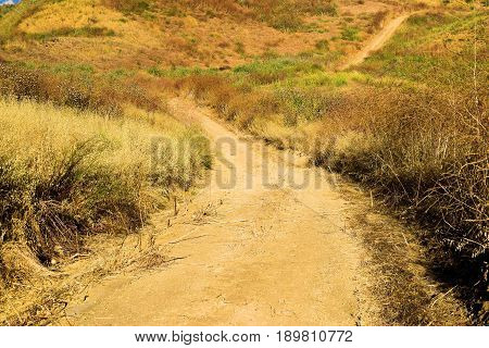Bike and hiking trail path surrounded by arid grasslands taken in the Whittier Hills, CA