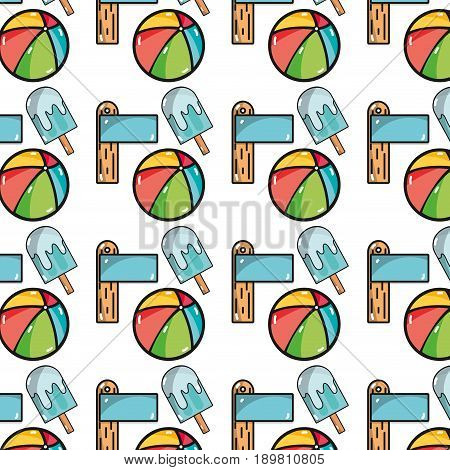 surfboard with ice lolly and ball beach background vector illustration
