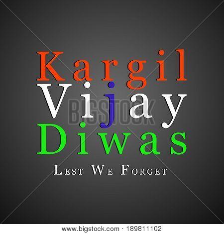illustration of kargil vijay diwas text on dark black background
