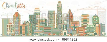 Abstract Charlotte Skyline with Color Buildings. Business Travel and Tourism Concept with Modern Architecture. Image for Presentation Banner Placard and Web Site.
