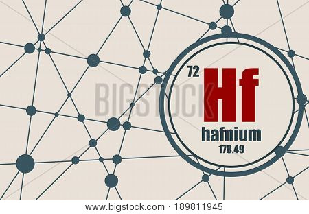 Hafnium chemical element. Sign with atomic number and atomic weight. Chemical element of periodic table. Molecule And Communication Background. Connected lines with dots.