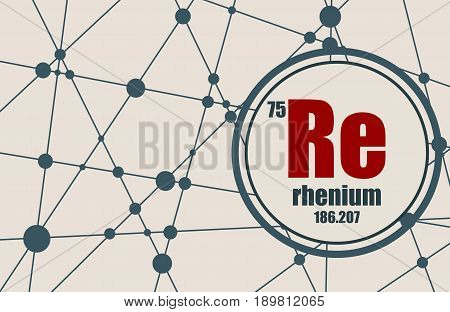 Rhenium chemical element. Sign with atomic number and atomic weight. Chemical element of periodic table. Molecule And Communication Background. Connected lines with dots.