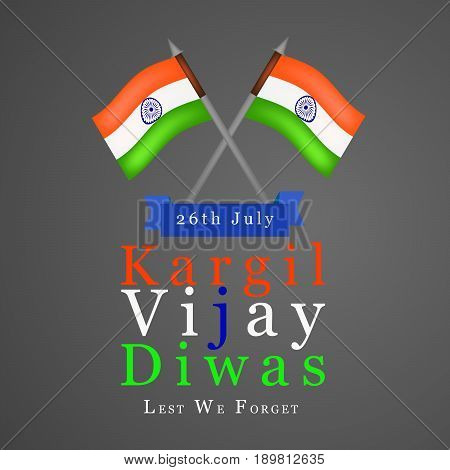 illustration of India flags and hat with 26th july kargil vijay diwas text