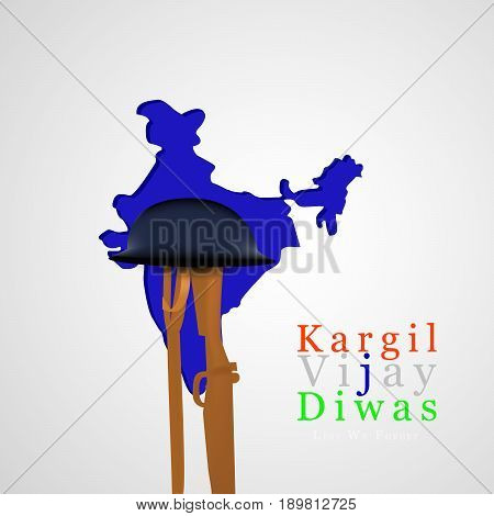 illustration of rifle in hat on India map background with kargil vijay diwas text