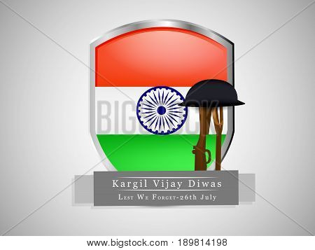 illustration of rifle and hat with shield in India flag