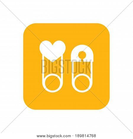 Children safety pin. Flat color icon. Baby items for newborns.