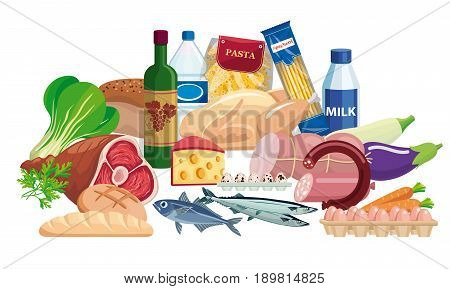 Foodstuffs. Set of food and drinks on a white background