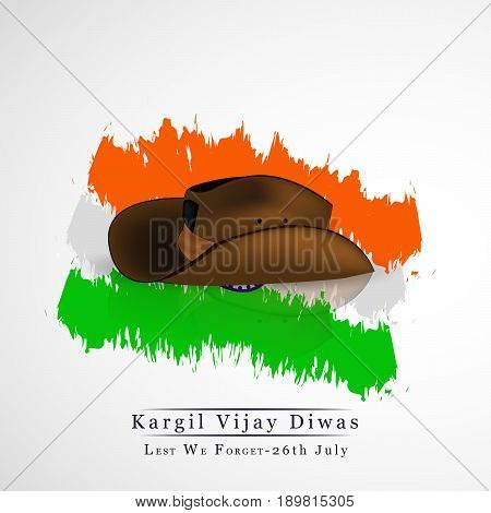 illustration of hat on India flag background with  kargil vijay diwas text