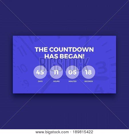 Countdown timer screen, purple color, vector illustration graphic