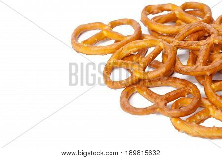 glazed and salted pretzels isolated on white background