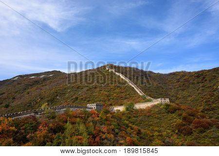 The Great Wall is a general term for the vast military engineering of the ancient China, which was built in different times to defend against the nomadic tribal alliance of the serb. This photo shows the Great Wall of mutianyu.