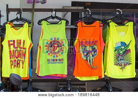 KOH PHANGAN THAILAND - NOVEMBER 11 2016 : Colorful T-shirts sold on the island during the full moon party