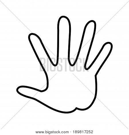 outlined hand showing five finger palm image vector illustration
