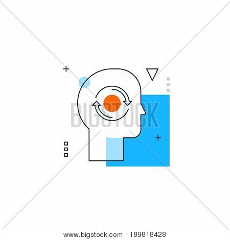 Emotional intelligence, phobia trigger, creative thinking, head ache. Psychology and philosophy concept. Trait of introversion of human personality. Linear design illustration