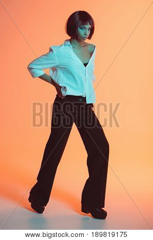 Young Stylish Attractive African American Woman Posing