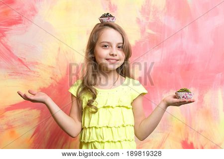 Cook Child Or Happy Girl With Cupcake