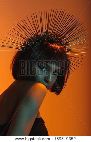 Young Fashionable African American Girl In Headpiece With Needles Looking At Camera