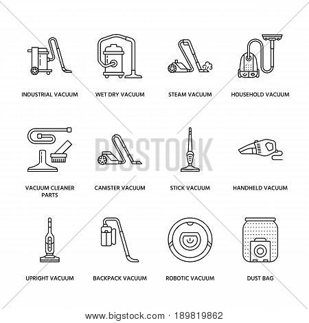Vacuum cleaners colored flat line icons. Different vacuums types - industrial, household, handheld, robotic, canister, wet dry. Thin linear signs for housework equipment shop. poster