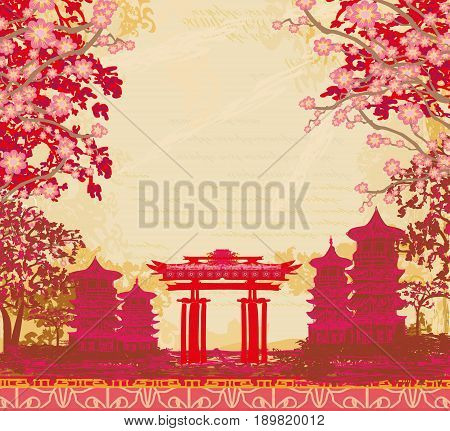 abstract Asian temple silhouette Landscape , vector illustration