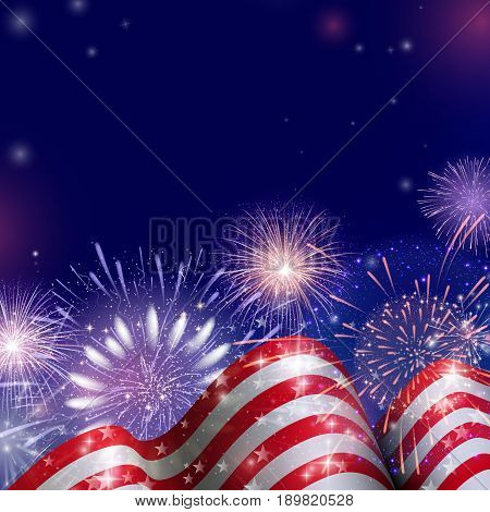 4th of July, American Independence Day celebration background with fireworks. Congratulations on Fourth of July