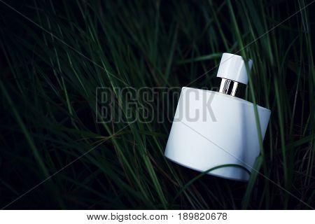 White bottle of perfume over green grass