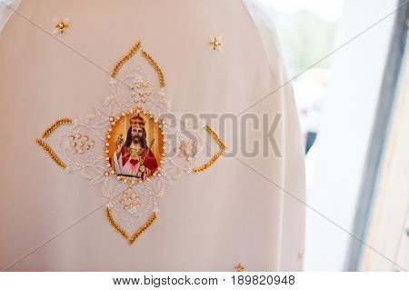 Clothing Priest With Jesus Christ On Back