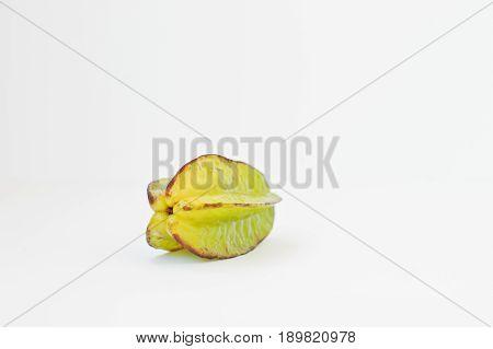 Exotic Fruit Carambola Or Starfruit (averrhoa Carambola) Isolated On White Background. Healthy Eatin