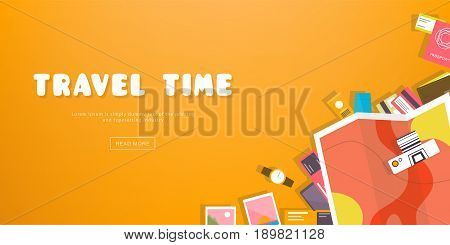 Travel time. Horizontal advertising banner on theme travel, vacation. Preparing for journey. Orange backdrop with things necessary traveler. Top view. Colorful vector background in flat style