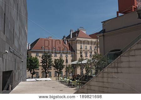 VIENNA, AUSTRIA-JUNE 01, 2017: View of Museum Quarter (MQW) in Vienna, Austria