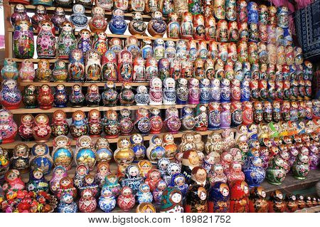 Beautiful dolls on the market. Traditional Russian toy